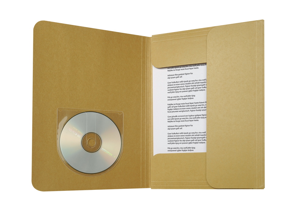 CD/DVD pocket with fingerhole